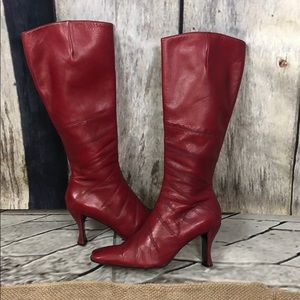 Aldo Red Leather Boots Size 8